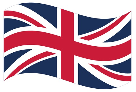 bandera de gran bretaña: Ondeando la bandera de Gran Bretaña aislada. Vector EPS8 Vectores