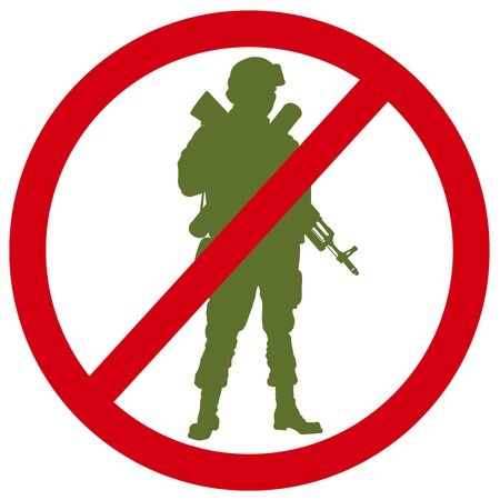 Forbidden sign with soldier silhouette. Anti-war concept. EPS 8 Vector