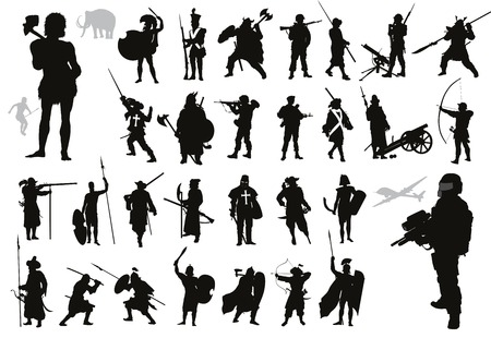 Ancient and modern warriors and soldiers high detailed silhouettes set  Vector 矢量图像