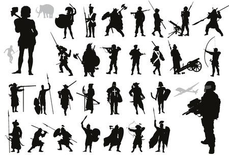 Oude en moderne krijgers en soldaten hoge gedetailleerde silhouetten set Vector