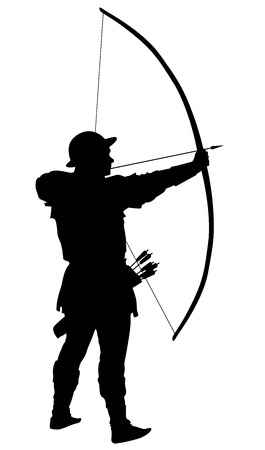 Archer with bow and arrow detailed vector silhouette
