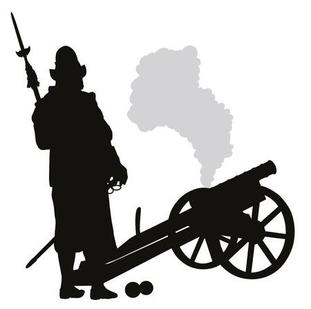 Conquistador con el cañón de vectores silueta