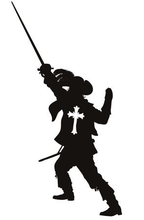 Musketeer with sword detailed vector silhouette  EPS 8