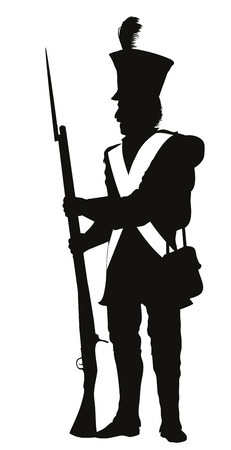 Napoleonic war soldier detailed vector silhouette