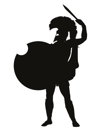 ancient warrior: Spartan warrior with shield and sword detailed vector silhouette