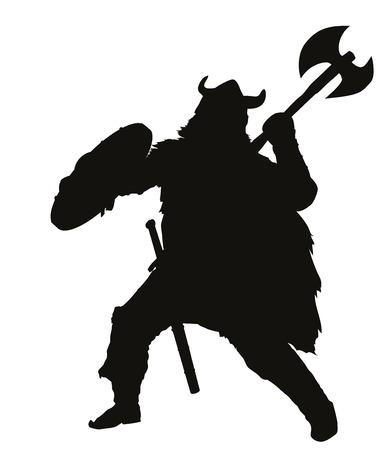 Fighting viking detailed vector silhouette   Illustration