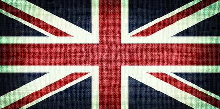 Grunge Great Britain flag. Detailed fabric texture. Close up photo