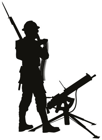 First world war soldier with mashine gun detailed vector silhouette.  Vector