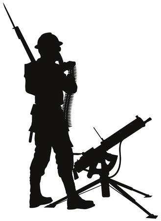 guerra: Primera guerra mundial soldado con el arma mashine detalle vector silueta.