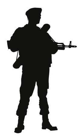 Soldier with rifle posing. Detailed vector silhouette
