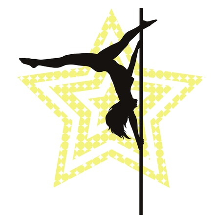 adults sex: Pole dancer woman on star background. Vector silhouette