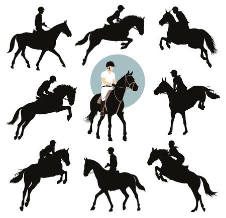 말과 기수 점프 벡터 실루엣을 설정합니다. 승마 스포츠.