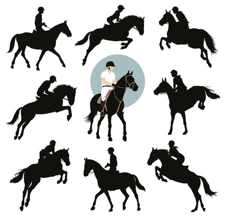 jockeys: Horse and rider jumping vector silhouettes set. Equestrian sports.