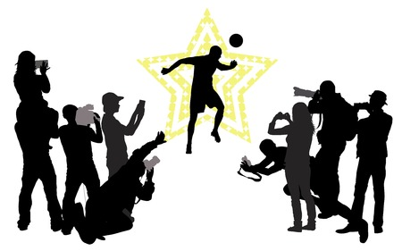 headliner: Soccer player on star background  and group of people with camera.Vector silhouettes.