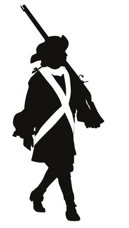 Vintage soldaat met geweer marcheren Vector silhouet
