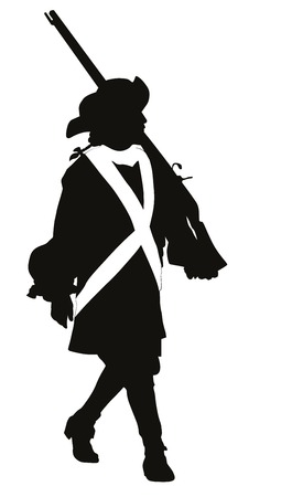 Vintage soldier with rifle marching  Vector silhouette
