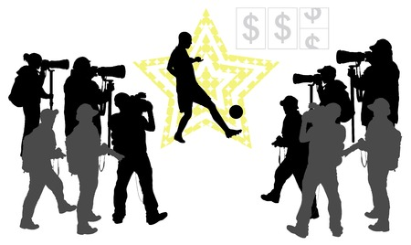 headliner: Soccer player on star background  and group of people with camera Vector silhouettes  EPS 10
