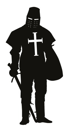 crusader: Knight with sword and shield detailed vector silhouette  EPS 8