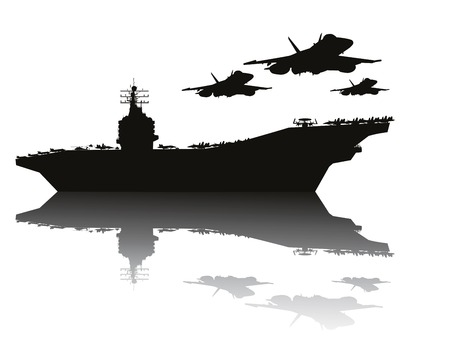 vehicle combat: Aircraft carrier and flying aircrafts detailed silhouettes  Vector EPS10