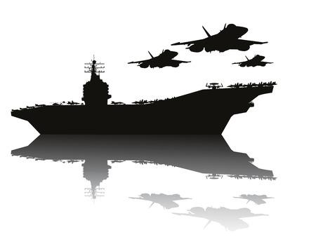Vliegdekschip en vliegende vliegtuigen gedetailleerde silhouetten Vector EPS10