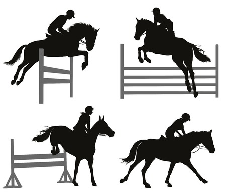 shows: Horses jumping a hurdle