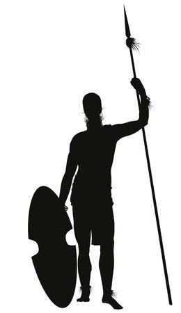 詳細なベクトル シルエットが槍のアフリカの部族の戦士