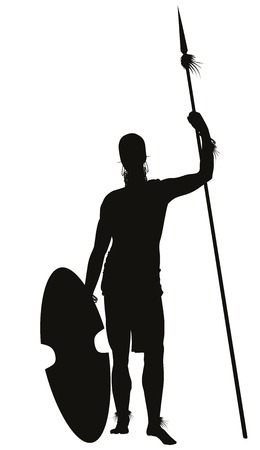 spear: African tribal warrior with spear detailed vector silhouette