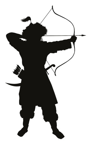 war: Oriental archer with bow and arrow detailed vector silhouette