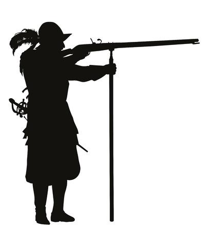 colonisation: Conquistador con moschetto mirando dettagliata vettore silhouette