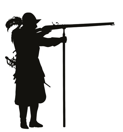 musket: Conquistador with musket aiming  Detailed vector silhouette  Illustration