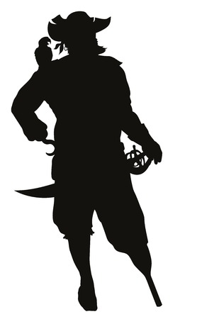 Caribbean sea: Pirate with parrot detailed vector silhouette