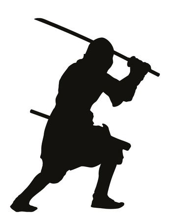 ancient warrior: Ninja warrior with sword detailed vector silhouette  Illustration