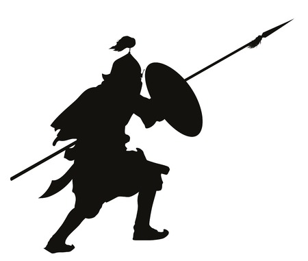Oriental warrior with shield and spear detailed vector silhouette   Illustration