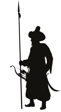 spearman: Turkish warrior with spear, bow and arrows vector silhouette