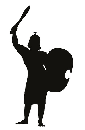 warrior pose: Persian warrior with sword and shield detailed vector silhouette  Illustration