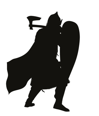 slavic: Slavic warrior with axe and shield detailed vector silhouette  Illustration