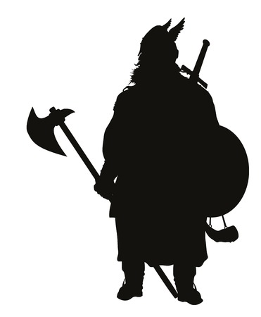 Viking with axe detailed vector silhouette   Illustration