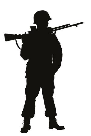 silhouette soldat: Deuxi�me Guerre mondiale soldat avec fusil d�taill�e vecteur silhouette Illustration