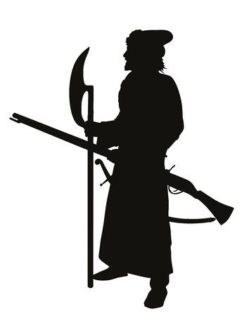 Antient soldier with axe and musket  Detailed vector silhouette   Vector