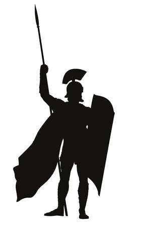 roman mythology: Roman warrior with shield and spear detailed vector silhouette