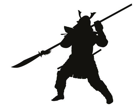 teatro antiguo: Guerrero del samurai con alabarda detallado vector silueta