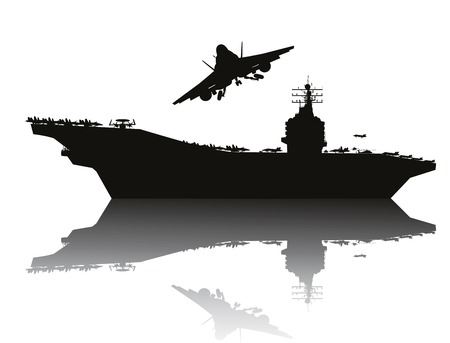 military silhouettes: Aircraft carrier and flying aircraft detailed silhouettes