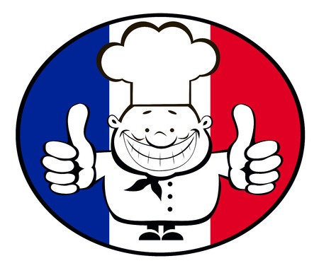 bon: Smiling cartoon chef showing thumbs up on French flag background.