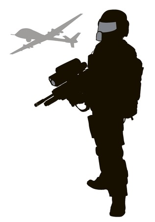 Soldier with modern weapon and drone. Vector silhouette