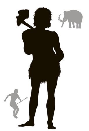 Hombre de las cavernas a cazar con mamut en el fondo. Vector silueta