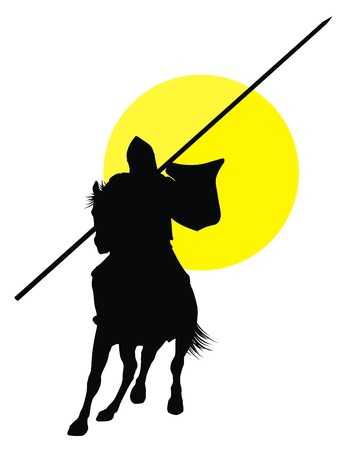 Knight with lance riding on horseback. Vector silhouette Vector