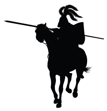 crusades: Knight in armour on  tournament. Vector silhouette
