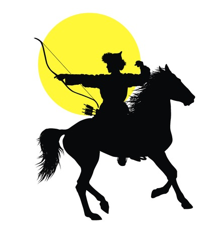 nomad: Medieval oriental horseman with bow and arrows. Vector silhouette