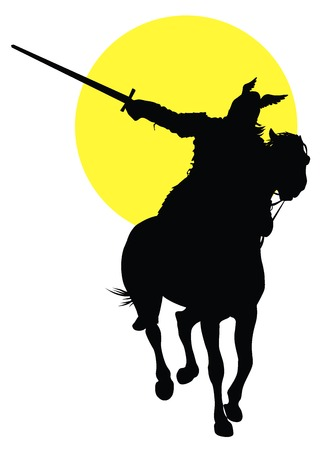 silueta hombre: Vikingo con la espada a caballo en el fondo del sol. Vector silueta
