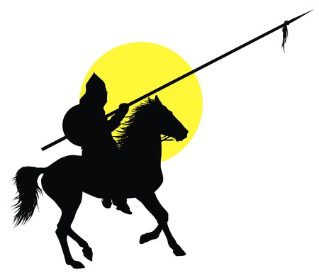 nomad: Medieval oriental warrior on horseback detailed vector silhouette